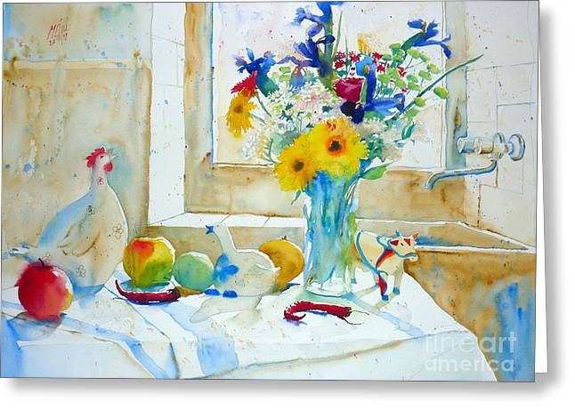 Iris And White Hen Greeting Card by Andre MEHU