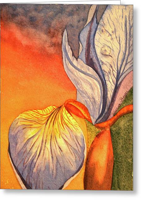 Greeting Card featuring the painting Iris Moody by Teresa Beyer