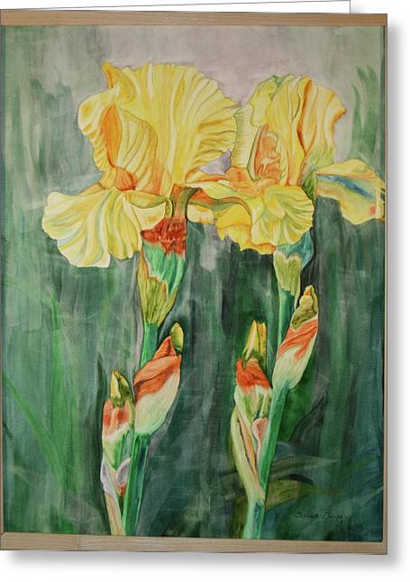 Greeting Card featuring the painting Irises II by Teresa Beyer