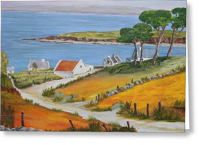 Irish Seaside Village Greeting Card by Siobhan Lawson