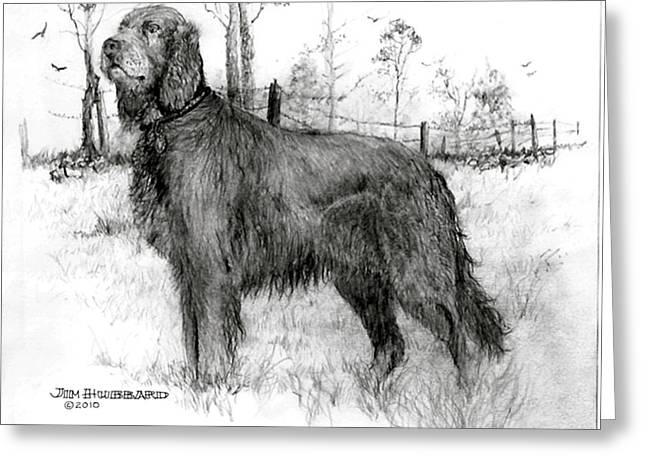Greeting Card featuring the drawing Irish Setter by Jim Hubbard