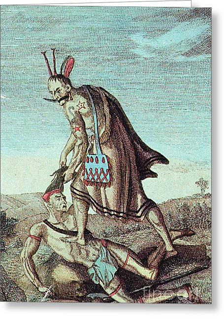 Iroquois Warrior Scalping Enemy, 1814 Greeting Card by Photo Researchers
