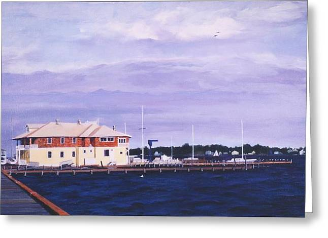 Greeting Card featuring the painting Island Heights Yacht Club by Robert Henne
