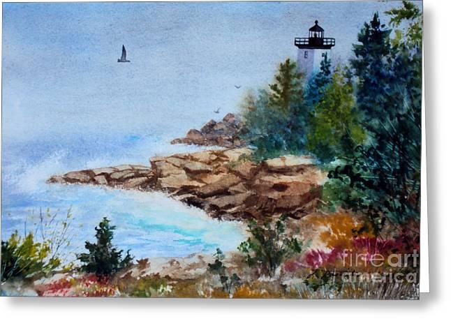 Island Light Greeting Card by Laura Tasheiko