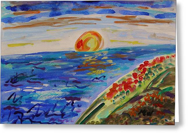 Island Poppy Sundown Greeting Card by Mary Carol Williams
