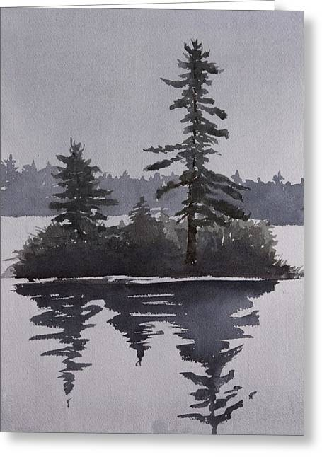 Island Reflecting In A Lake Greeting Card by Debbie Homewood