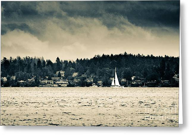Island Sails Vancouver Island Sailing Under Stormy Skies Greeting Card