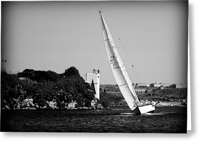 island's arrival -  A classical one mast vessel under white sails Greeting Card by Pedro Cardona