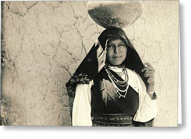 Isleta Pueblo Woman 1910 Greeting Card by Padre Art