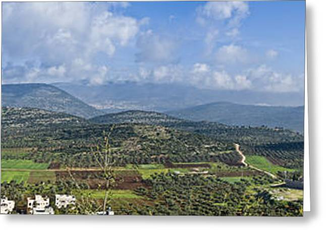 Israeli Valley Panorama Greeting Card by Noam Armonn