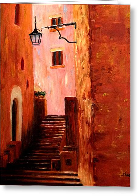 Italian Alley Greeting Card by Suzzanna Frank