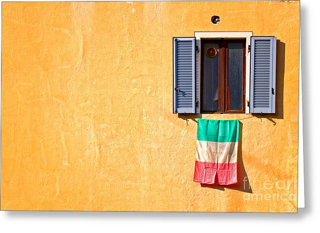 Italian Flag Window And Yellow Wall Greeting Card