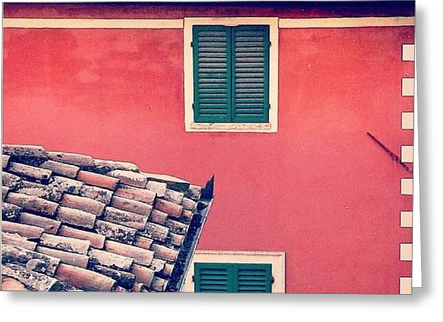 Italian Geometry #house #shutters Greeting Card