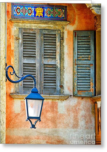 Italian Street Lamp With Window And Decorated Wall Greeting Card