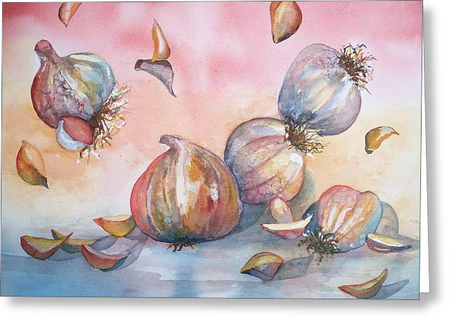 Its Raining Garlic Greeting Card by Sandy Collier