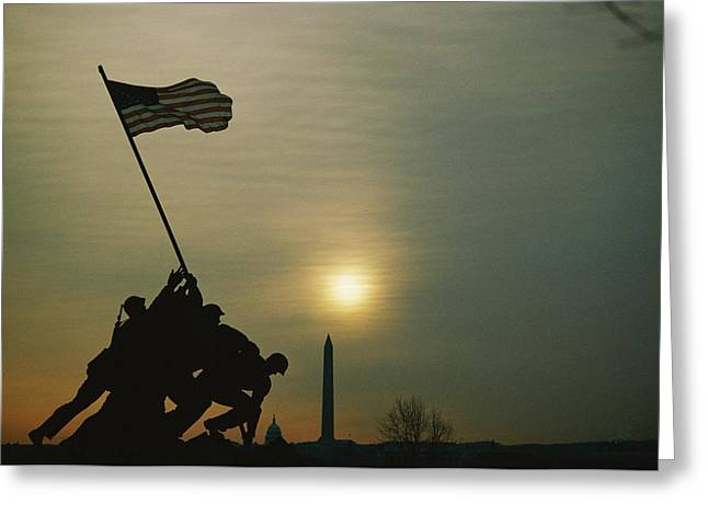 Iwo Jima Monument Silhouetted Greeting Card