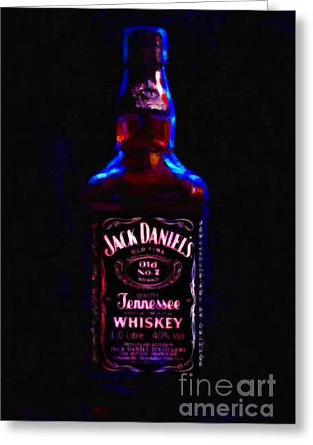 Jack Daniel's Tennessee Whiskey 80 Proof - Version 2 - Painterly Greeting Card by Wingsdomain Art and Photography