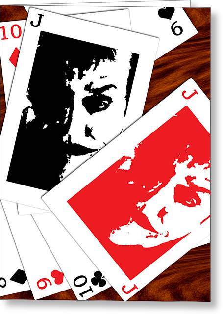 Greeting Card featuring the digital art Jack Nicholson - The Joker's Crooked Card Game by Saad Hasnain