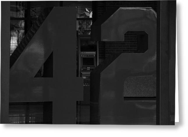 Jackie Robinson In Black And White Greeting Card by Rob Hans