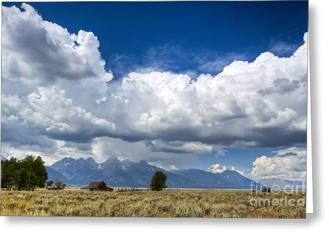 Jackson Hole Barn And Clouds Greeting Card