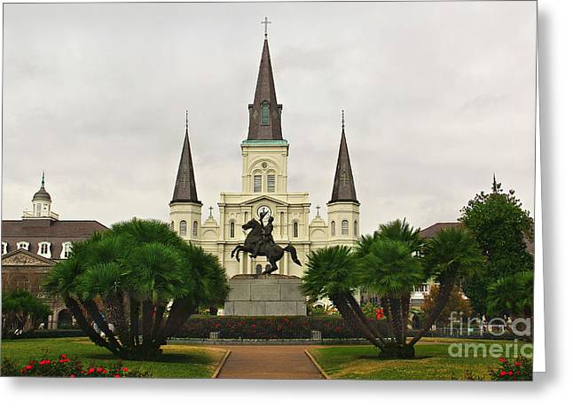 Jackson Square Greeting Card by Perry Webster