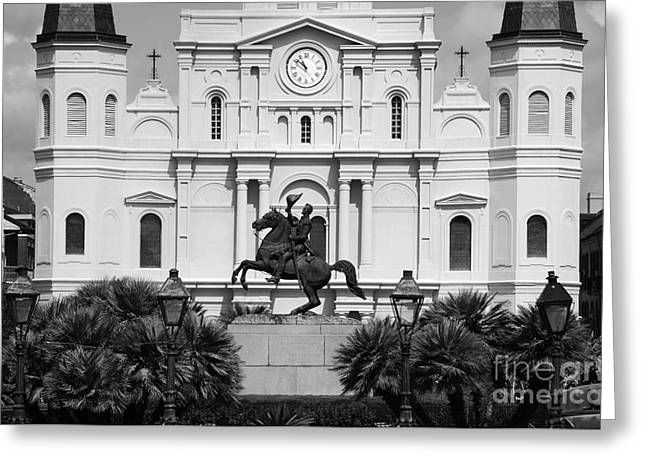 Jackson Statue And St Louis Cathedral French Quarter New Orleans Black And White Greeting Card by Shawn O'Brien