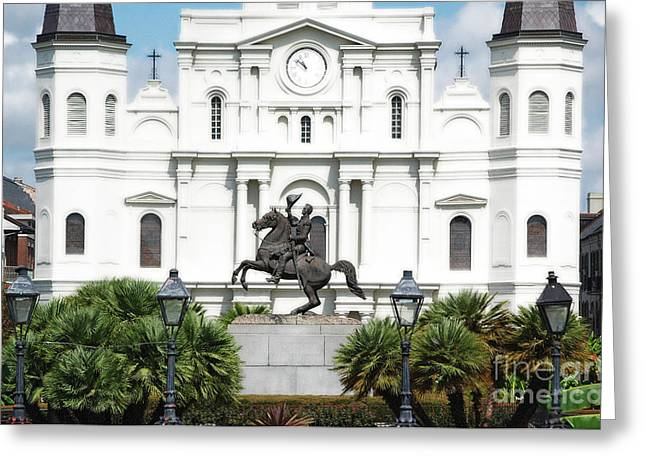 Jackson Statue And St Louis Cathedral French Quarter New Orleans Diffuse Glow Digital Art Greeting Card by Shawn O'Brien