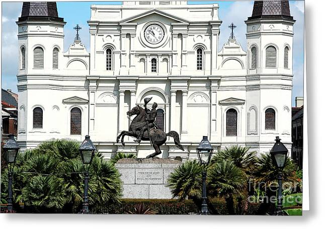 Jackson Statue And St Louis Cathedral French Quarter New Orleans Ink Outlines Digital Art Greeting Card by Shawn O'Brien