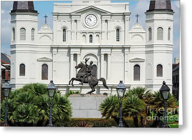 Jackson Statue And St Louis Cathedral French Quarter New Orleans Greeting Card by Shawn O'Brien