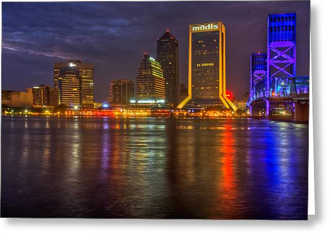 Jacksonville At Night Greeting Card by Debra and Dave Vanderlaan