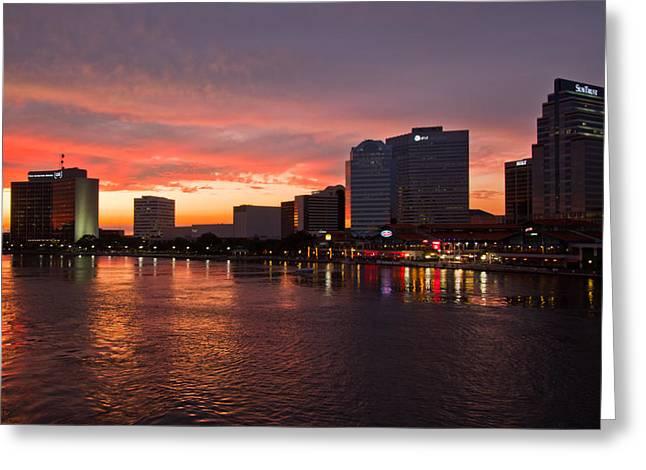 Jacksonville Skyline Night Greeting Card