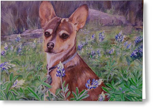 Jacob  In Bluebonnets Greeting Card by Maureen Pisano