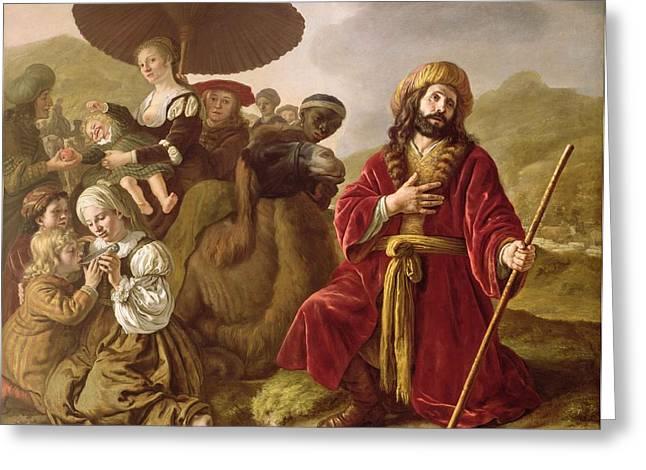 Jacob Seeking Forgiveness Of Esau Greeting Card by Jan Victoors