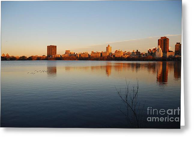 Jacqueline Kenedy Onassis Reservoir Greeting Card by Alan Clifford