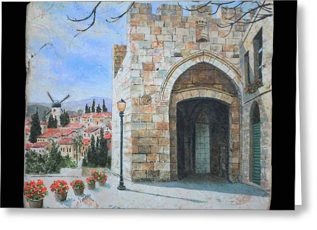 Jaffa Gate Greeting Card by Miki Karni
