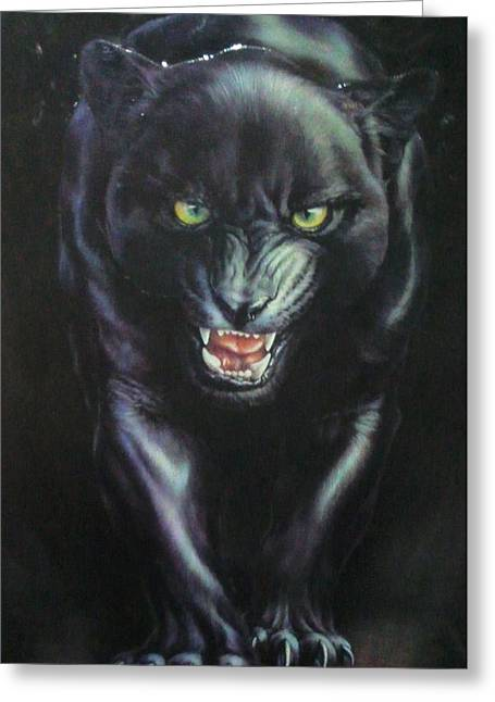 Jaguar Prowl Greeting Card by Unique Consignment
