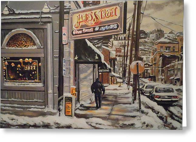 Greeting Card featuring the painting James Street Restaurant  by James Guentner