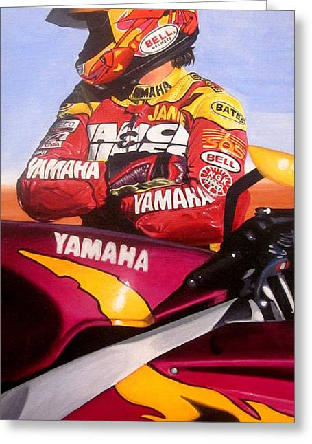 Jamie James - Yamaha Yzf Greeting Card by Jeff Taylor
