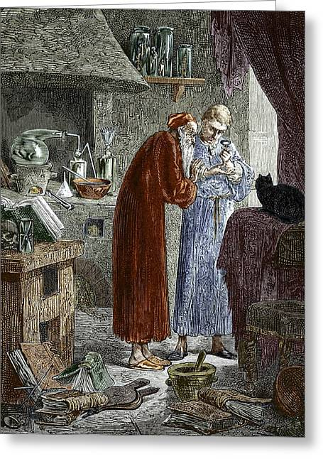 Jan Baptiste Van Helmont And An Alchemist Greeting Card by Sheila Terry