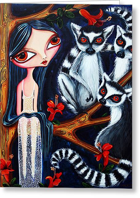 Jane And The Lemurs Greeting Card by Leanne Wilkes