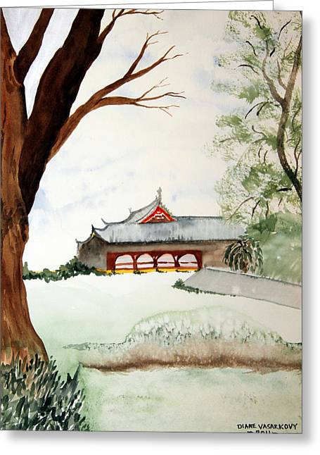 Japan House Greeting Card by Diane Vasarkovy