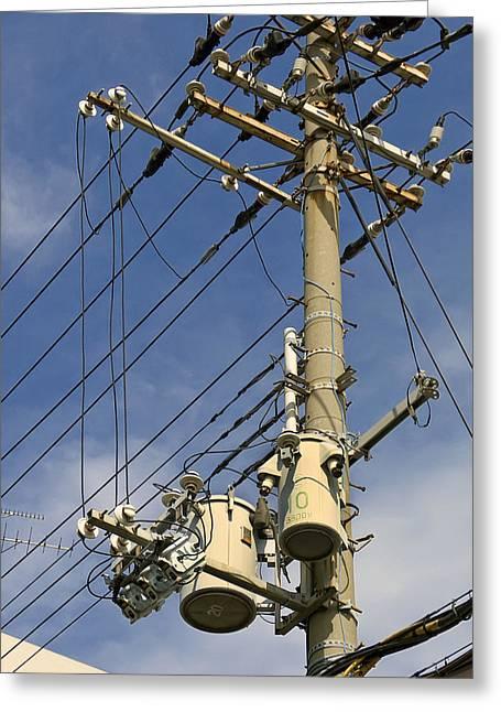 Japan Power Utility Pole Greeting Card by Daniel Hagerman