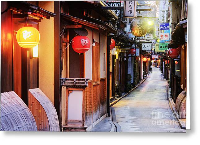Japanese Businesses On A Pedestrian Street Greeting Card by Jeremy Woodhouse