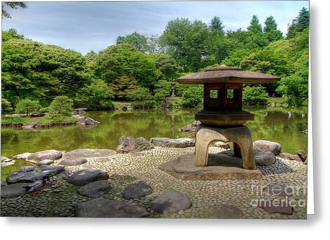 Japanese Garden -2 Greeting Card by Tad Kanazaki