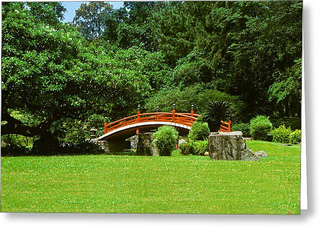 Greeting Card featuring the photograph Japanese Garden Bridge 21m by Gerry Gantt