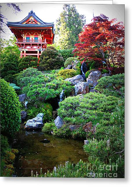 Japanese Garden With Pagoda And Pond Greeting Card