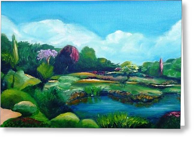 Greeting Card featuring the painting Japanese Gardens - Donated As A Raffle Prize July 2016 by Therese Alcorn