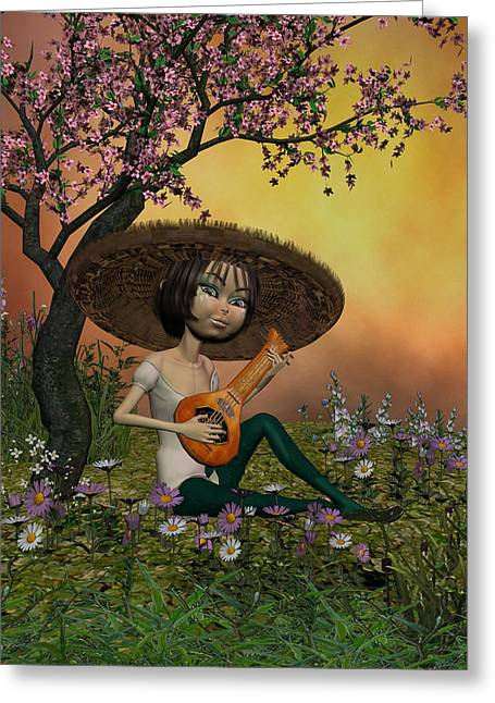 Japanese Musical Morning In The Garden Greeting Card by John Junek