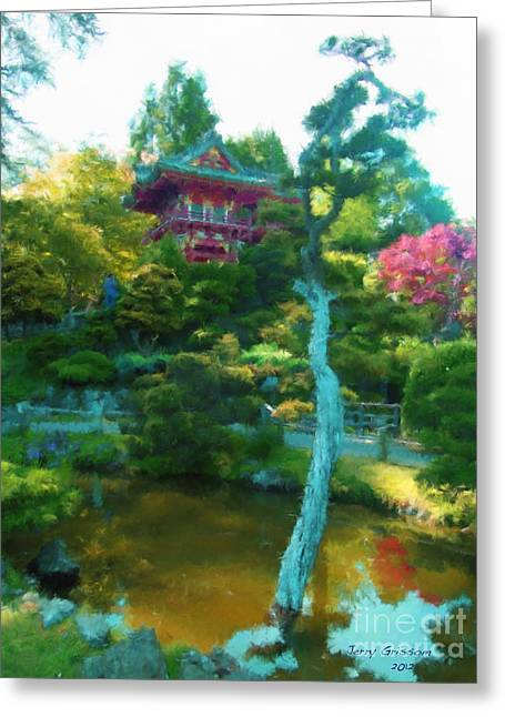 Japanese Tea Garden Temple Greeting Card by Jerry Grissom