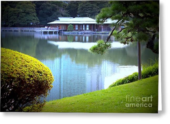 Japanese Tea House Reflection Greeting Card by Carol Groenen
